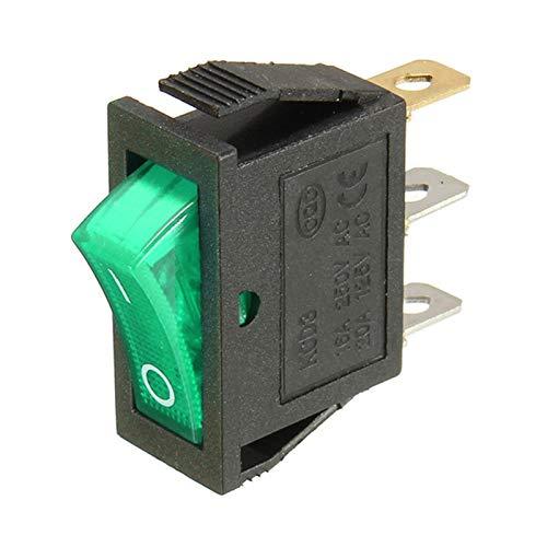 KQATCJ Interruptor basculante 3PC 16A 250V 20A 125V 3 Pin 2 posición de la luz de alimentación basculante de conmutación del Interruptor Impermeable para Coche, Barco, camión (Color : Green)