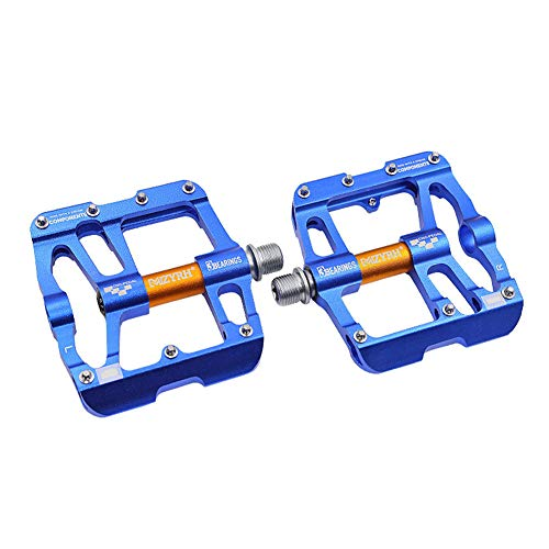 TANCEQI Bike Pedals 3 Bearing Composite 9/16 Bicycle Pedals High-Strength Non-Slip Surface CNC Machined Aluminum Alloy, for Universal BMX Mountain Bike Road Trekking,Blue