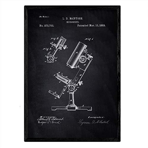 Poster Nacnic microscoop patent. Blad met oud ontwerp patent A3-formaat met zwarte achtergrond
