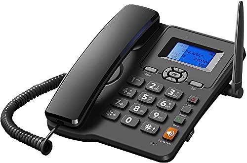 Teléfono Fijo HJYUIK, Tarjeta Dual SIM De gsm Montaje En La Pared del Teléfono Inalámbrico del Escritorio De La Banda Cuádruple con Radio FM Radiotelephone Negro
