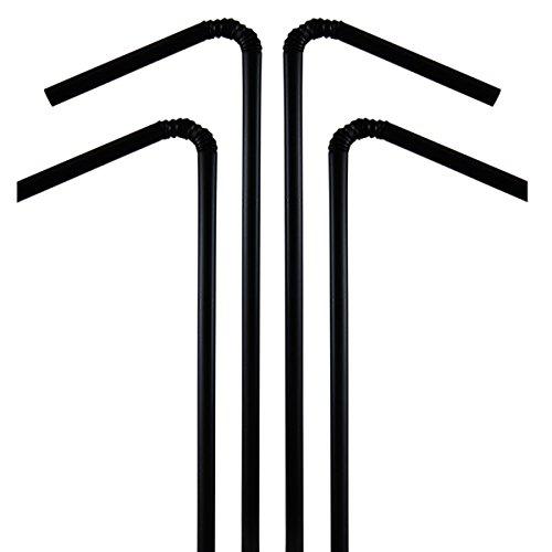 Decor Service Trinkhalme, Plastik, Schwarz, Durchmesser 5 mm x 24 cm