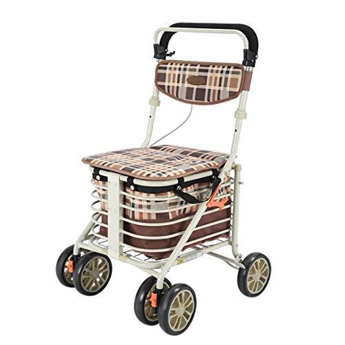 Wlehome Aluminium Vier fahrbare Gehhilfe Rollator, Seat und Einkaufskorb, verstellbar in Höhe, Licht und sicherer Entwurf, verwendet für Senioren Wandern, Einkaufen,Braun,A