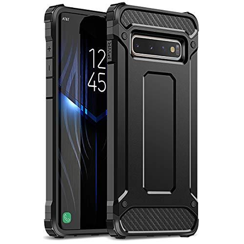 WE LOVE CASE Kompatibel mit Samsung Galaxy S10 Hülle Stoßfest Handyhülle Armor Serie PC+Silikon Dünn Doppelschichter Bumper Schutz Schutzhülle für Samsung Galaxy S10 Schwarz