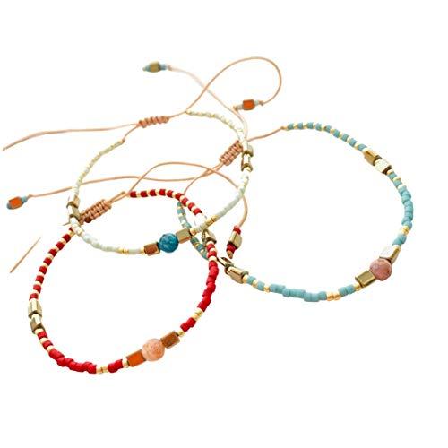 Wish Bracelets Set of 3 | Natural Boho Miyuki Beaded & Vintage Stone Jewellery | Friendship Bracelets | Bohemian Adjustable Bangles 2021 (Turquoise-Redwine-Honeydew)