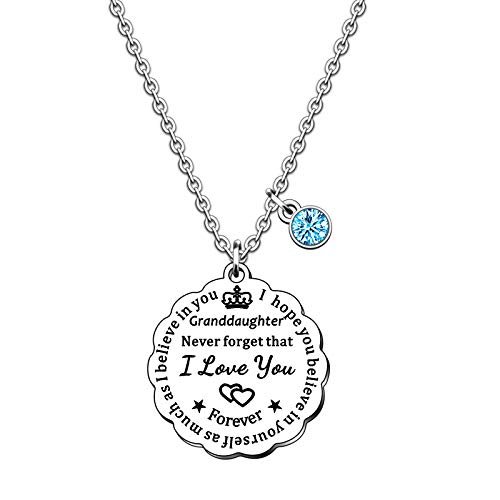 SMARGO Inspirational Granddaughter Necklace For Women Grils Birthday Christmas Xmas Jewellery Presents From Nana Grandma Grandad Grandparents I Hope You Believe In Yourself As Much As I Believe In You