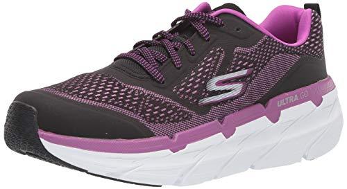Skechers Women's MAX CUSHION-17690 Sneaker, Black/Purple, 9 M US