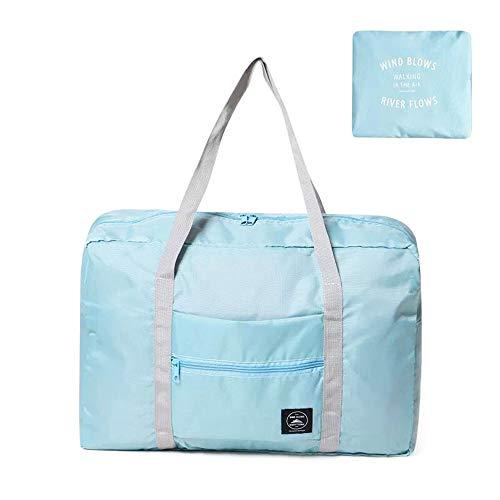 Bolsa de viaje fin semana lona para llevar en el hombro playa ligera impermeable plegable almacenamiento bolsa cruzada transporte con correa Azul azul 21cm*18cm/8.3in*7.1