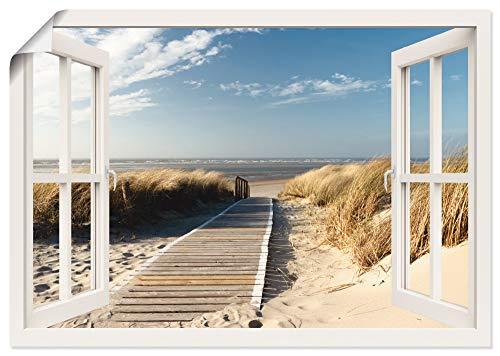 Artland Poster Kunstdruck Wandposter Bild ohne Rahmen 100x70 cm Fensterblick Fenster Strand Meer Maritim Düne Leuchtturm Nordsee Langeoog T5RQ