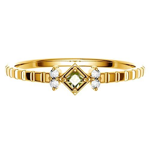 [ココカル]cococaru K18 イエローゴールド ダイヤモンド リング 0.05ct スクエアカット 指輪 15号 天然 ダイヤモンド 日本製