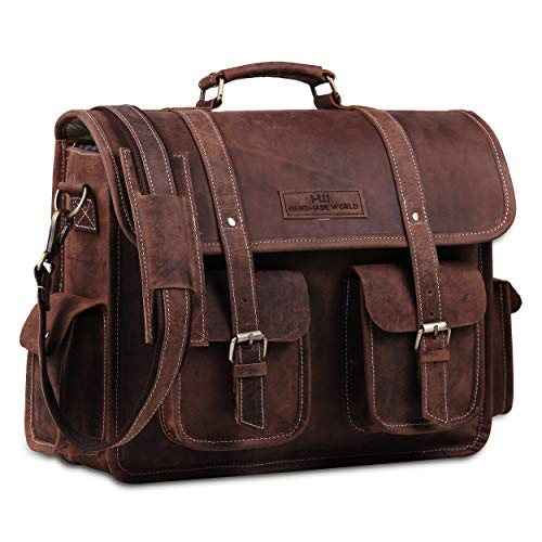 Handmade World 16 Inch Buffalo Leather Messenger Bag For Office, College Laptop Briefcase Bag for Men and Women
