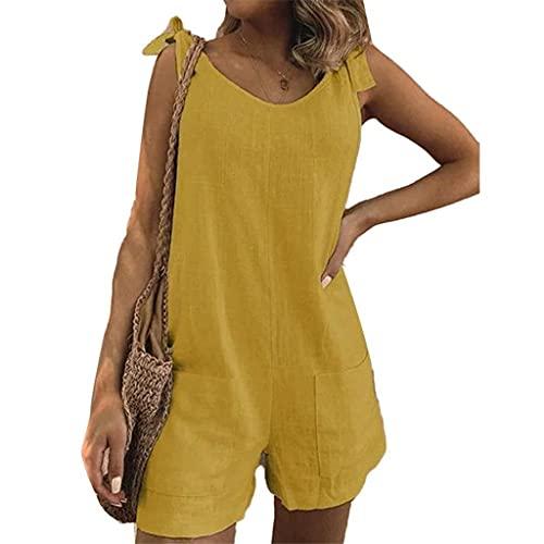 GFDFD Mujeres de Color sólido sin Mangas Correas Ajustables Bolsillos Sueltos Mono de Mono Suena Suave y cómodo (Color : Yellow, Size : 2XLcode)