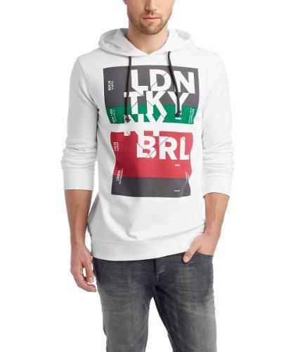 Edc By Esprit - Sweat - Shirt à Capuche - à Capuche - Manches Longues Homme - Blanc - Blanc - FR : XX - Large (Taille Fabricant : XXL) (Brand size: He