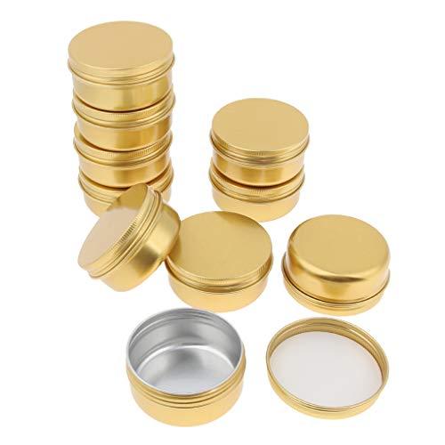 Blesiya 10 Stuks Ronde Aluminium Crème Lege Lippenbalsem Kaarsen Containers Potten Tin - 30 g
