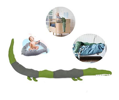 Bettschlange- Duless Babybett umrandungen Kinderbett Stoßstange Bettumrandung Stoßfänger, Krokodil Stil Weben Bettumrandung Kantenschutz Kopfschutz Dekoration