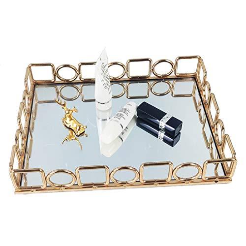 DQDL Espejo Bandeja De Almacenamiento De Joyas, Bandeja Adornada Pendientes De Metal Collares Bandeja Decorativa Bandeja De Maquillaje para Tocador, Baño, Dormitorio