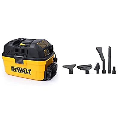 DeWALT Portable 4 Gallon Wet/Dry Vaccum, Yellow & Workshop Wet/Dry Vacs Vacuum Accessories WS17854A 1-7/8-Inch Shop Vacuum Attachment Kit for Use with A Shop Vacuum with Homeowners in Mind