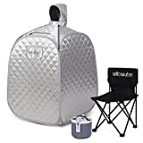 WILLOWYBE Portable Personal Steam Sauna Home Spa, an Indoor Steam Sauna for Relaxation, Detox and Therapeutic, Silver Prime