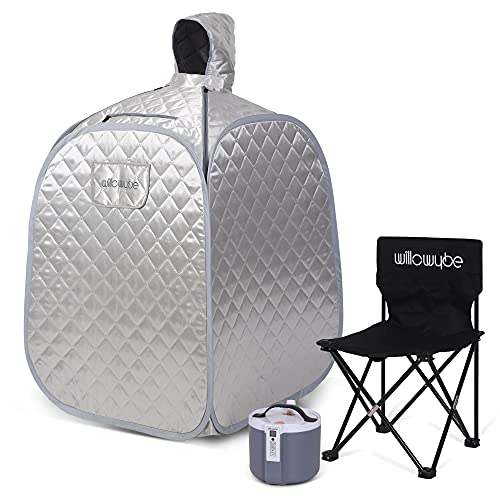 WILLOWYBE Portable Steam Personal Saunas at Home for Detox, Full Body Suna Room with Chair, Remote...
