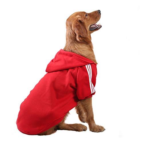 FEimaX Vestiti per Cane Felpa con Cappuccio Calda Cappotto Invernale per Cani di Taglia Piccola Media Grande Pet Abbigliamento Sportiva Felpe da Cucciolo (3XL, Rosso)