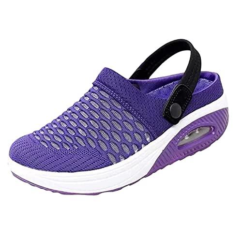 Eariuhfj Zapatos de senderismo para mujer, transpirables, informales, con cojín de aire, para aumentar el peso ligero y cómodas, sandalias de malla de tenis, al aire libre, gimnasio, correr, tenis