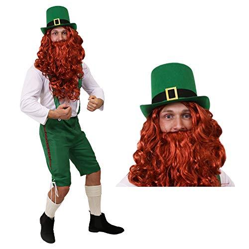 I LOVE FANCY DRESS LTD GLÜCKSBRINGER Kobold ST Patricks Day Leprechaun Irland KOSTÜM VERKLEIDUNG=GRÜNE 3/4 Latzhose+WEISSES Oberteil+ROTE PERÜCKE+BART+GRÜNER Zylinder MIT Schnalle=XXLarge