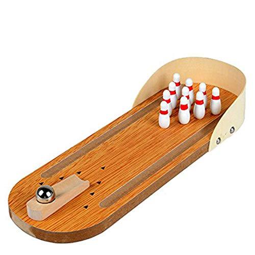 NiceButy Mini-Bowling-Spiel Indoor Holz Bowling-Spiel Klassische Tisch Bowling Toy Schreibtisch Brettspiele für Kinder und Erwachsene Set