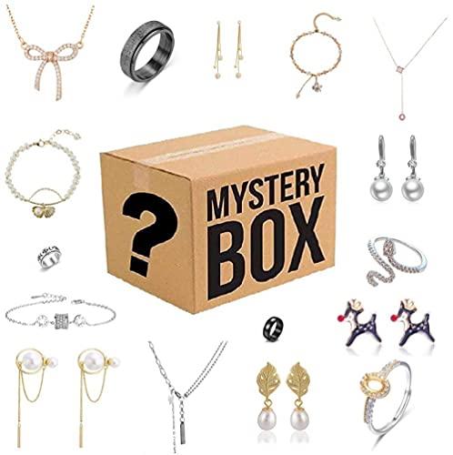 Caja misteriosa para mujer, caja ciega de joyería Lucky Box, caja sorpresa misteriosa, contiene 16 joyas exquisitas, regalo sorpresa perfecto para tu amante o para ti mismo