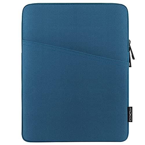MoKo 9-11 Pollici Custodia Compatibile con iPad 9a 8a 7a Gen 10.2, iPad PRO 11 2021/2020/2018, iPad Air 4 10.9, iPad Air 3 10.5, Borsa per Tablet in Poliestere con Tasca a Cerniera, Blu Pavone