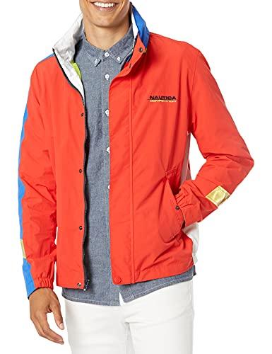 Nautica RAINBREAKER Color Block JKT Chaqueta Deportiva, Rojo (6ey Fire Red 6ey), Large (Tamaño del Fabricante:L) para Hombre