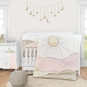 Sweet Jojo Designs Boho Desert Sun Baby Girl Nursery Crib Bedding Set – 5 Pieces – Blush Pink Mauve Gold Ivory Taupe Bohemian Mountains Southwest Nature Outdoors Tassel Minimalist Cotton Geometric