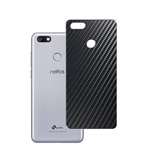 Vaxson 2 Unidades Protector de pantalla Posterior, compatible con TP-LINK Neffos C9, Película Protectora Espalda Skin Cover - Fibra de Carbono Negro