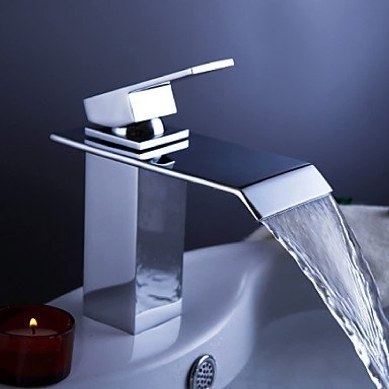 GAOLI Waschraumarmaturen Zeitgenssisch Mittellage Wasserfall with Keramisches entil Einhand Ein Loch for Chrom, Waschbecken Wasserhahn