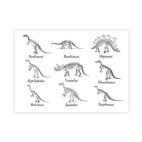 Dinosaurio Cuadro Poster Dinosaurio Lista Pared Arte Pintura PaleontologíA Especies Dinosaurio Lienzo Imprimir NiñOs HabitacióN Estudio Pared Decoracion Cuadro 40x60cm No Marco