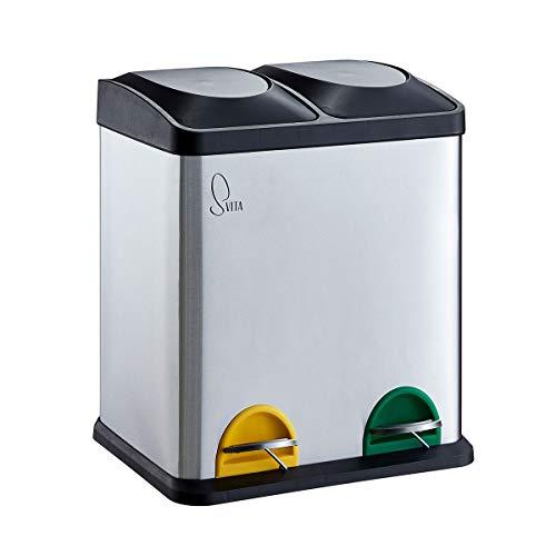 SVITA TC2X15 Edelstahl Küchen-Eimer 30 Liter Silber 2x15L doppelt Abfalleimer 2er-Mülleimer Mülltrennung Treteimer