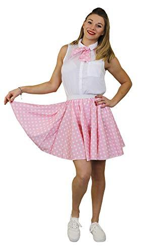 I LOVE FANCY DRESS LTD Damen Polka DOT Rock n ROLL KOSTÜM VERKLEIDUNG=10 Farben+ 2 GRÖßEN=LÄNGE VON UNGEFÄHR-43 cm=Tanz Fasching Karneval VERANSTALLTUNGEN=HELL ROSA Weisse Punkten-Plus Size