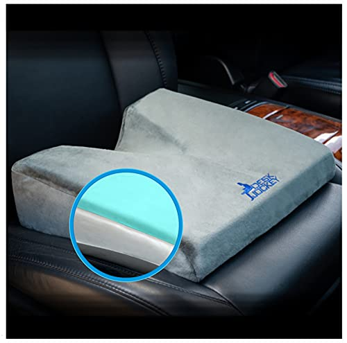 Desk Jockey Car Seat Memory Foam Wedge Tailbone Cushion - Elevate Height and Comfort While Driving with Premium Therapeutic Grade Firm Automobile Wedge Pad Pillow for Car, Truckers, and Vehicle Use