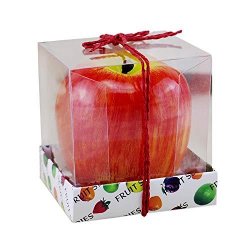 CamKpell Precioso diseño Lindo Forma de Manzana roja Fruta perfumada Vela Decoración del hogar Vela de cumpleaños Vela de la lámpara - Rojo - M