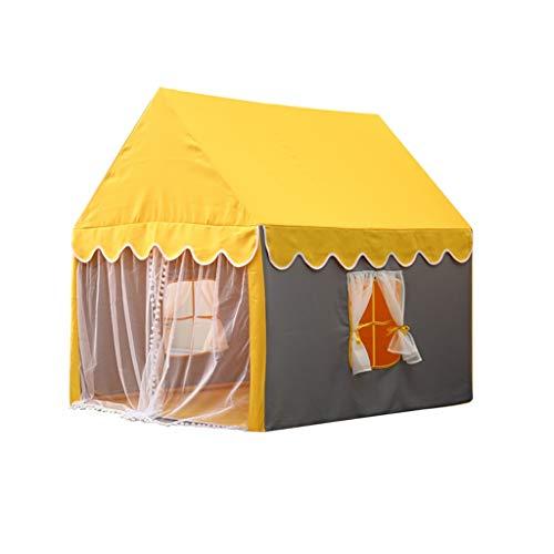 Tents Boy/Girl-Zelt, Kinder Unabhängiger Raum/for Kinder im Sleep Unabhängig/Lesen/Massivholz-Bracket-Mesh Vorhang-Entwurf (Color : Yellow, Size : 100 * 126 * 120cm)