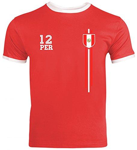 Soccer World Cup Fussball WM Fanfest Gruppen Herren Männer Ringer Trikot T-Shirt Streifen Trikot Peru, Größe: S,Red/White