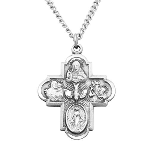 Rosemarie Collections Religious Gift Traditional Catholic Four Way Cross Medal Pendant Necklace 24'
