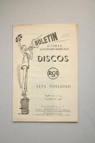 Boletín últimas novedades musicales RCA Alta fidelidad : suplemento 9, septiembre 1956