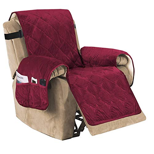 Luxury Velvet Plush Large Width Recliner Chair Cover with Elastic Straps Three Pockets, Pet Dog Couch Covers for Armchair Seat Width Up to 28