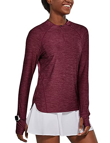 BALEAF Women's Long Sleeve Hiking Shirts UPF50+ Sun Shirts Zip Pullover Quick Dry Lightweight for Running Workout