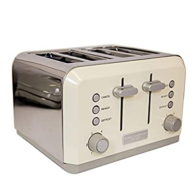 Charles Bentley 4 Slice Toaster Stainless Steel Browning Control Dial with 6 Levels Loading Handle in Cream