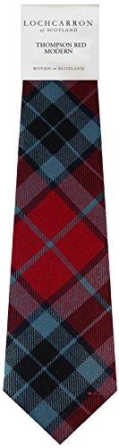 I Luv Ltd Gents Neck Tie Thompson Red Modern Tartan Lightweight Scottish Clan Tie