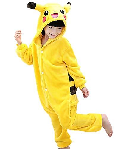 Talla 140-8/9 años - Disfraz - Pijama de una Pieza - Pikachu - Pokemon - niños - bebés - Disfraz - Carnaval - Halloween - Color Amarillo - Cosplay - Unisex - Idea de Regalo