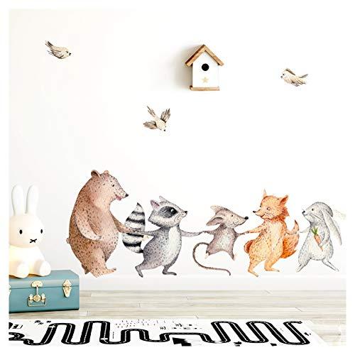 Little Deco Wandtattoo Waldtiere Hand in Hand I (BxH) 102 x 38 cm I Kinderzimmer Babyzimmer Aufkleber Sticker Wandaufkleber Wandsticker Klebeposter Stickers DL148