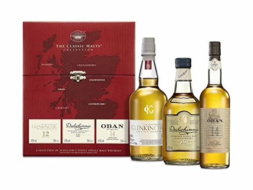 The Classic Malts Collection Pack Gentle, Single Malt Scotch Whisky Pack mit Dalwhinnie 15 Jahre, Oban 14 Jahre, Glenkinchie 12 Jahre (3 x 0.2 l)