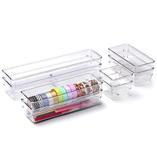 EZOWare 8er Set Stapelbarer Durchsightiger Schublade Organizer aus Kunststoff für Schubladen Ordnungssystem, Schreibtische, Küchen, Badezimmer, Schminktisch, Drawer - 4 Größen, Schmal