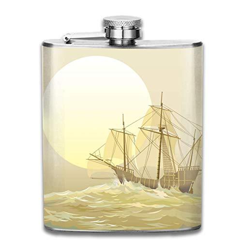 Caravel Columbus - Petaca pequeña de acero inoxidable para hombre, a prueba de fugas, diseño de flagones para el aire libre, para alcohol, whisky, ron y vodka